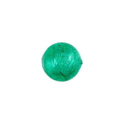 Sea Green Silver Foil 10mm Round Murano Glass Bead