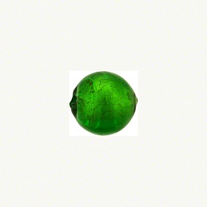 Murano Glass Bead, Emerald .925 Sterling Silver Foil 10mm Round