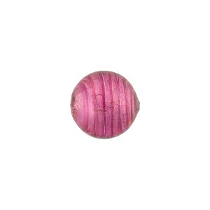 Rubino White Gold Foil  10mm Round Murano Glass Bead