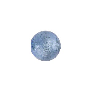 Blue White Gold Foil  10mm Round Murano Glass Bead