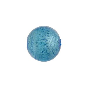 Light Aqua Silver Foil Round 12mm, Murano Glass Bead