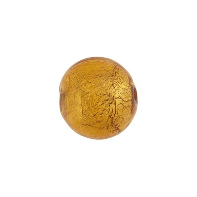 Light Topaz 14mm Gold Foil Round Murano Glass Bead