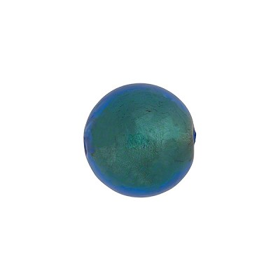 Aqua 14mm Gold Foil Round Murano Glass Bead