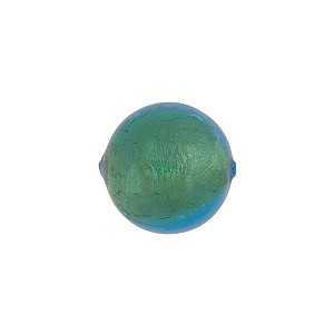 Light Aqua 14mm Gold Foil Round