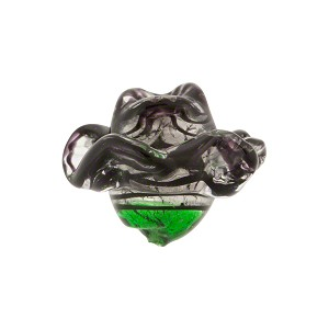 Rose Shaped Black Filigrana Murano Glass Bead, White Gold Foil, 15mm