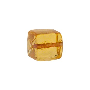 Murano Glass Solid Color Cube, 10mm, Pale Topaz