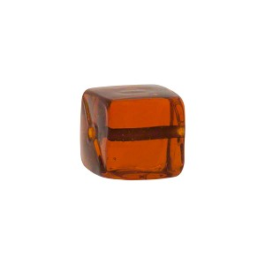 Murano Glass Solid Color Cube, 10mm, Topaz