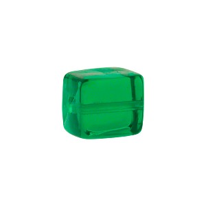Murano Glass Solid Color Cube, 10mm, Emerald Green