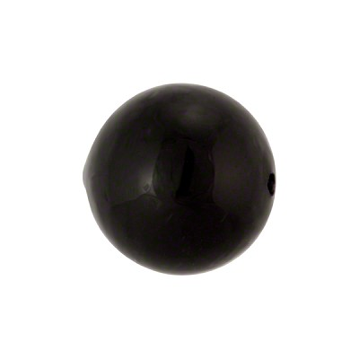 Solid Black 16mm Round Murano Glass Beads