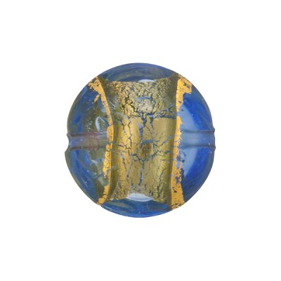 Blue & Gold Serale Murano Glass Disc Bead, 16mm