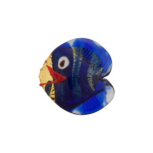 Venetian Glass Fish Serale 15mm Cobalt Gold