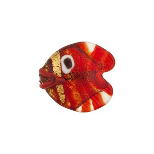 Venetian Glass Fish Serale 15mm Red Gold