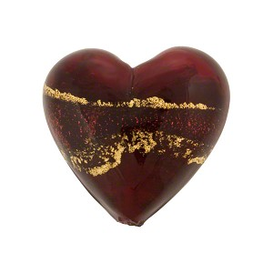 Venetian Beads Bicolor Hearts Gold Foil 18mm, Ruby