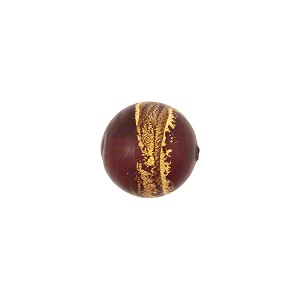 Bicolor Round 10mm Gold Foil Bands Ruby, Murano Glass Bead