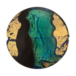 Venetian Bead Bicolor Exterior Gold Foil Swirl Disc 25mm Aqua Black