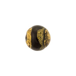 Sole Swirls 10mm Round Exposed Gold Black Steel, Murano Glass Bead