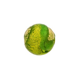 Peridot and Emerald Sole Swirl 12mm 24kt Gold Foil Exposed, Murano Glass Bead