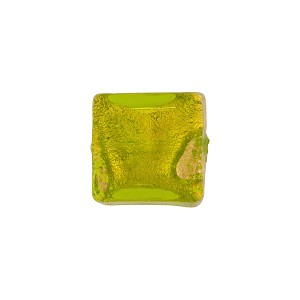 Venetian Bead Sole Gold Foil Swirl Square 12mm, Peridot