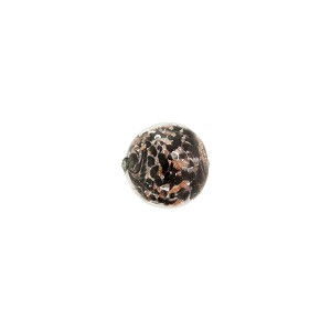 Black Sommerso Style Murano Glass with Aventurina Round Bead, 8mm