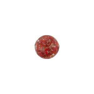 Ruby Red Sommerso Style Murano Glass with Aventurina Round Bead, 8mm