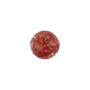 Ruby Red Sommerso Style Murano Glass with Aventurina Round Bead, 10mm