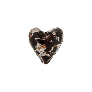 Speckled Heart 13mm White Gold Foil Black Murano Glass Bead