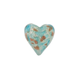 Speckled Heart 13mm White Gold Foil Aqua Murano Glass Bead