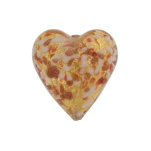 Speckled Heart 20mm Gold Foil Rubino Murano Glass Bead