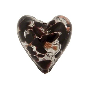 Speckled Heart 20mm White Gold Foil Black Murano Glass Bead