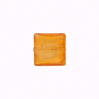 10mm Square Murano Glass Bead, Topaz over Gold Foil