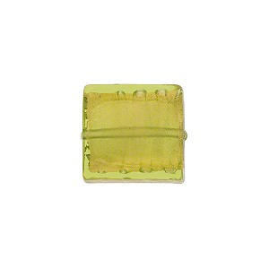 Peridot Gold Foil 11-12mm Square Venetian Bead