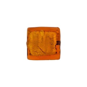 Silver Foil Square Murano Glass Bead, 12mm, Topaz