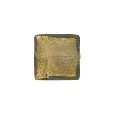 Acciaio (Olive) Gold Foil 14mm Square Venetian Bead