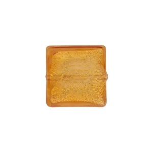 Topaz Gold Foil 14mm Square Venetian Bead