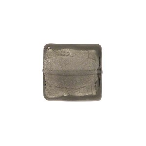 Gray Square White Gold 14mm, Venetian Glass Bead