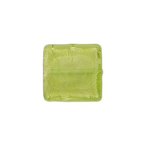 Peridot Square White Gold 14mm, Venetian Glass Bead