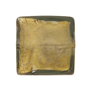 Acciaio (Olive) Gold Foil 20mm Square Venetian Bead