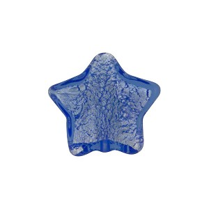 Venetian Bead Star Silver Foil 15mm Blue