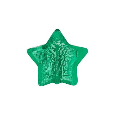 Murano Glass Star Bead, 15mm, Emerald over Silver Foil