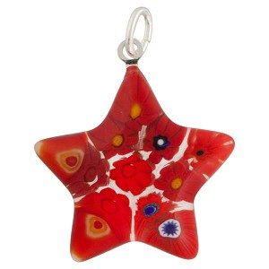 Fused Millefiori Star Pendant 24mm, Multi Red