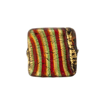 Emerald Red Striped 24kt Gold Foil Square 15mm