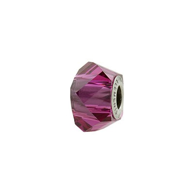 Swarovski 5928 BeCharmed Helix Bead, Fuchsia, 4.5mm Hole