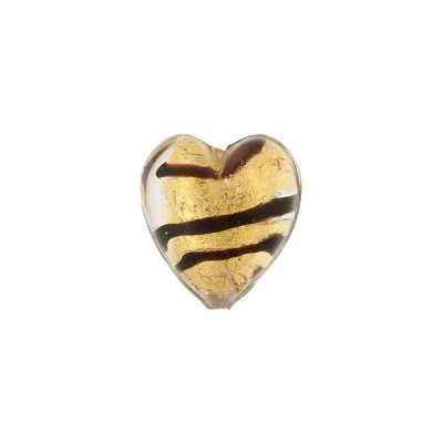 Chocolate Stripes Tiger Heart Gold Foil 12mm Murano Glass Bead