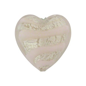 Pink White Gold Tiger Stripes Heart 20mm