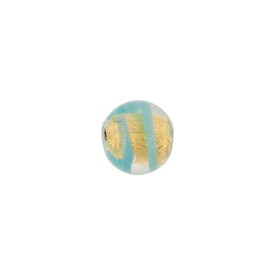 Aqua Tigrato 8mm Stripes 24kt Gold Foil Murano Glass