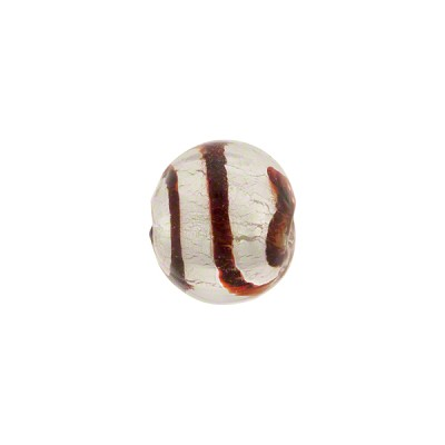 Red White Gold Foil Tigrato Round 10mm Murano Glass Bead