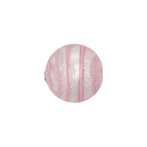Pink White Goldfoil Tigrato 12mm Murano Glass Bead