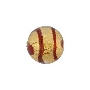 Red Stripes Tigrato 14mm Gold Foil Murano Glass