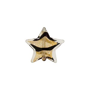 Murano Glass Bead Black Striped Gold Star 12mm