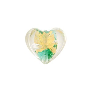 Verde Marino (Aqua) Gold Foil Heart Tosca 13mm, Murano Glass Bead